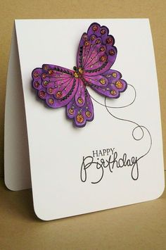 clean and simple butterfly card ... luv the purple coloring and looped path from the birthday sentiment ...