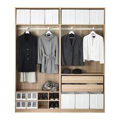 PAX Wardrobe, white stained oak effect, Auli Ilseng white stained oak effect 200x44x236 cm null