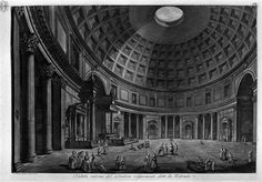 Veduta interna del Pantheon volgarmente detto la Rotonda, incisione