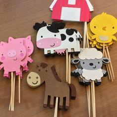 Cupcake toppers for farm animals, farm / farm themed party - . - Cupcake toppers for farm animals, farm / farm theme party – - Party Animals, Farm Animal Party, Farm Animal Birthday, Barnyard Party, Farm Birthday, Farm Party, Birthday Kids, Kids Animals, Birthday Cake