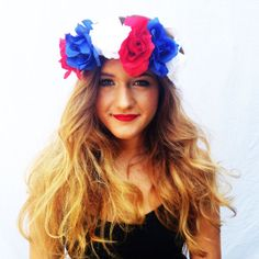 Red White and Blue Flower Crown Roses Floral Headband Coachella Hair Accessories American Flag Colored Flowers Boho Head Piece Summer $15 www.TheBohipstian.Etsy.com