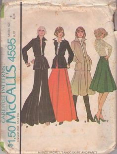 MOMSPatterns Vintage Sewing Patterns - McCall's 4595 Vintage 70's Sewing Pattern FUNKY GROOVY Huge Wide Bell Bottom Palazzo Tango Pants, Flared Skirt, Wing Collar Shirt Jacket