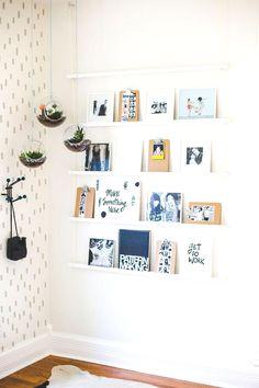 Floating shelves for leaning art