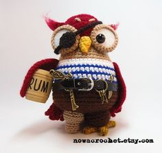 Pirate owl amigurumi PDF crochet pattern ebook by Nowacrochet $6.69