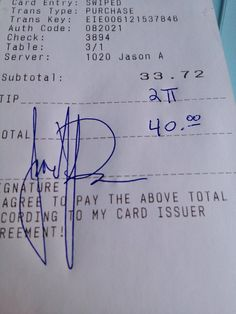 The nerdiest possible way to tip your waiter.