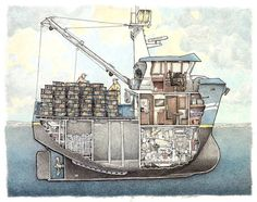 This is a cutaway of the Alaska adventure charter boat M?V Ursa Major, a charming Norwegian-built Trawler Yacht. Wooden Boat Building, Boat Building Plans, Boat Plans, Trawler Yacht, Boat Illustration, Shanty Boat, Boat Drawing, Lobster Boat, Duck Boat