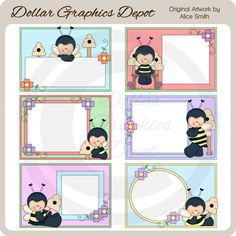Bumble Bee Frames Clip Art Collection, by Alice Smith - Only $1.00 at www.DollarGraphicsDepot.com : Great for DIY crafts, greeting cards, scrapbook pages, web graphics, gift boxes / bags, gift tags / labels, iron-on transfers, printable photo frames, candy bar wrappers, and lots more!