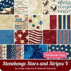 Stonehenge Stars and Stripes V Fat Quarter Bundle<BR>Linda Ludovico and Deborah Edwards for Northcott Fabrics
