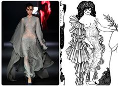 """John GallianoBill Gayten said 19th-ceuntury illustrator Aubrey Beardsley's drawings influenced his collection. They certainly added a touch of romanticism, and this sweeping dress, far left, contains the same layered ruffles as this Beardsley book illustration for the Aristophanes play """"Lysistrata.""""Left: Courtesy Getty ImagesRight: Courtesy Wikipedia[content:shareblock]"""