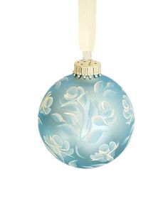 Christmas Ornament  Baby Blue Satin Ball with by HandPaintedPetals, $19.50