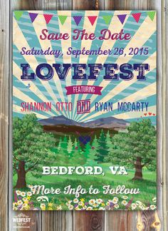 Lovefest Wedding Save The Date Designed by Marty McClogan at wedfest.co