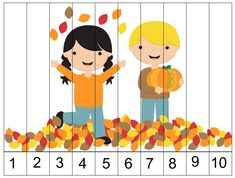 Autumn puzzle to print. Fall Preschool Activities, Fine Motor Activities For Kids, Numbers Preschool, Preschool Math, Math For Kids, Toddler Preschool, Toddler Activities, Fall Games, Fall Crafts For Kids