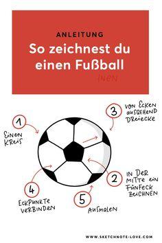 Anleitung für das Zeichnen eines einfachen Fußballs Visual Thinking, Workshop, Sketch Notes, Simple Doodles, Soccer Ball, Tricks, Visual Note Taking, Latest Technology, Triangles