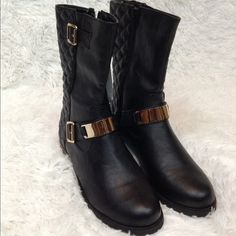 Black Quilted Faux Leather Boots NWT NO TRADE Bucco Shoes Combat & Moto Boots