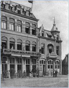 Links hotel Het Hof van Brabant en rechts De Drie Zwanen aan de noordwest zijde van de Korenmarkt. Rechtsachter ligt de huidige Commanderie - 1910.