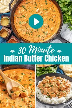 indian food Indian Butter Chicken is ready in under 30 minutes! The Makhani sauce and chicken come together with the most incredible spice and flavor. Yummy Chicken Recipes, Veg Recipes, Curry Recipes, Mexican Food Recipes, Cooking Recipes, Healthy Recipes, Butter Chicken Recipe Video, Butter Chicken Sauce, Lunch Recipes