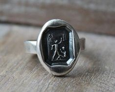 Symbol meaning and history jewelryhandmade by ALM by ALMrozarka Wax Seal Ring, Wax Seals, Meant To Be, Zodiac, Cufflinks, Silver Rings, Symbols, History, Trending Outfits