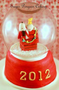 Snoopy & Woodstock Snowglobe cake