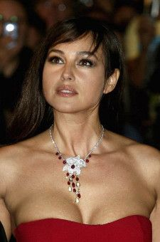 Brunette italian actress monica bellucci out in red evening dress more