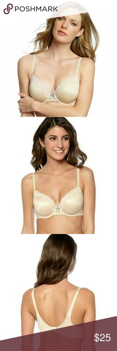 New! Maidenform Lace-trim Comfy T-shirt Bra NWT Brand New With Tags!   Maidenform's Comfort Devotion bra redefines comfort with exceptional softness and unparalleled support  Color: Latte Lift  -Extra coverage contour underwire cups with lace trim -Adjustable straps -Ultra-soft lined foam cups. No-show cups -Hook-and-eye closure at back -Plush fabric inside and out Super soft wire casing for ultimate comfort -Delicate lace trim -Smoothing wing and leotard back keep straps from slipping…