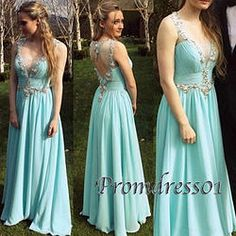 #promdress01 prom dresses - 2015 cute light green chiffon beaded straps long prom dress for teens, ball gown, occasion dress #prom2k15 #promdress -> www.promdress01.c... #coniefox #2016prom