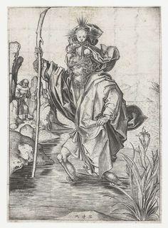 De Heilige Christoffel draagt het Christuskind, Martin Schongauer, 1470 - 1490
