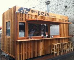 Give Pizza A Chance food cart will close as of January Container Coffee Shop, Container Shop, Container Design, Food Cart Design, Food Truck Design, Cafe Shop Design, Kiosk Design, Mini Cafe, Pop Up Cafe