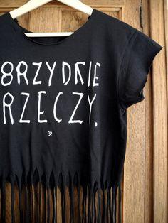 CZARNY FRĘDZEL - brzydka koszulka z napisem