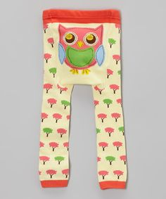 Look at this #zulilyfind! Light Yellow Tree Owl Leggings - Infant by Doodle Pants #zulilyfinds