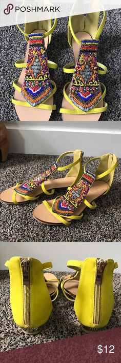 Vincci Sandals ☀️ Great condition. Worn a few times! Beautiful bright yellow with beaded front. I bought these in Malaysia, they say size 5, I'm a 6-7 US size and these are a bit big for me. Super cute! vincci Shoes Sandals