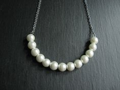 Pearl NecklaceIvory Pearl NecklaceWedding by RachelleD on Etsy