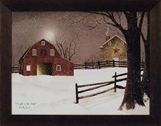 Amazon.com: Crisp Winter Evening by Billy Jacobs 15x19 Red Covered Bridge Fresh Snow River Full Moon Primitive Folk Art Framed Picture: Posters & Prints