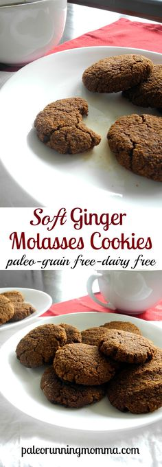 Soft Ginger Molasses Cookies – Grain free dairy free and paleo Source by Paleorunmomma Coconut Flour Cookies, Paleo Cookies, Gluten Free Cookies, Gluten Free Desserts, Xmas Cookies, Paleo Sweets, Paleo Dessert, Healthy Desserts, Healthy Food