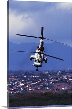 A CH46 Sea Knight helicopter in flight