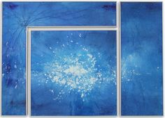 Blue Kapnos L II, 2015 , reverse painted glass, 40 x 56 inches, triptych cassandria blackmore