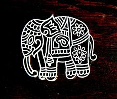 Elephant Hand Carved Wood Stamp Animal Indian di PrintBlockStamps