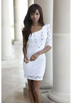 My wedding rehearsal dress = LOVE! Lace and crochet one shoulder dress. Shoulder baring dress in a sexy, yet elegant stretch lace. Wedding Rehearsal Dress, Rehearsal Dinner Dresses, Dresses For Teens, Club Dresses, Midi Dresses, Night Club Outfits, Crochet Lace Dress, Shower Dresses, Celebrity Dresses
