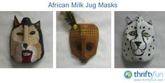 This guide is about making plastic jug masks. Frugal fun masks can be made by with recycled plastic jugs. Plastic Jugs, Plastic Bottle Crafts, Animal Masks For Kids, Mask For Kids, Milk Cans, Milk Jug, Upcycled Crafts, Recycled Art, Textured Spray Paint