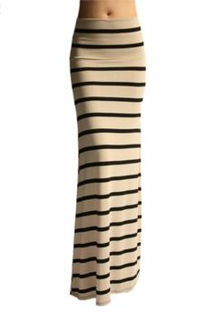 WOMEN MULTI STRIPE LONG SEXY ELEGANT MAXI SKIRT - MADE IN USA (MORE COLORS)