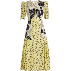 Roksanda Thalia floral-print silk crepe de Chine dress ($1,843) ❤ liked on Polyvore featuring dresses, yellow print, beige dress, floral pattern dress, floral print dress, vintage floral dress and long-sleeve floral dresses