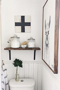 Decorative wall art is appropriate in any room of the house so why not the guests bathroom. They're very easy to find at discount stores and even thrift spots. Add a few of different sizes fora complete look or add one large piece to be a focal point.