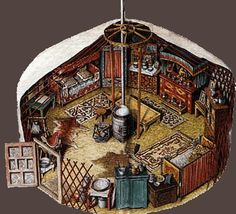 yert   Illustration showing an interior of a typical Mongolian yurt.