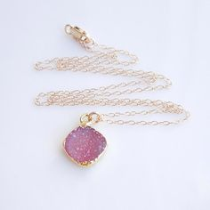 Back in stock! Druzy Necklace in Pink Rose https://www.etsy.com/listing/250664346/druzy-necklace-in-pink-rose?ref=listing-shop-header-0 #geode #druzy #necklace #etsy #jewelry