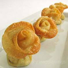Wonton roses with artichoke and cream cheese filling