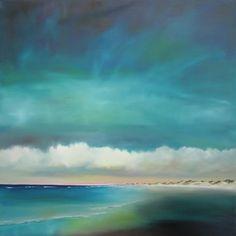 """Nancy Hughes Miller ~ """"Deep Blue Green Beach"""" ~ Oil on Linen 36""""x36"""""""