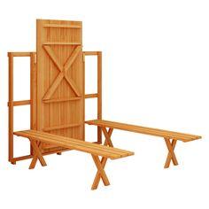 Conjunto para parede Viking IV com mesa e 2 bancos 1,80 Natural - Sasajaca   Lojas KD