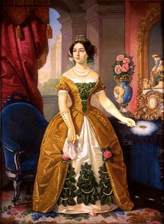 1855 - Portraiit of María Dolores de Tosta by Juan Cordero (Mexico, 1822-1884). At 15, in 1844, she became the second wife of Mexican political and military leader Antonio López de Santa Anna. This was painted 11 years later. Tosta lived primarily in Mexico City while Santa Anna travelled the country, so they rarely saw each other. They had no children. Painted by Juan Cordero in 1855.