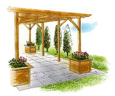 Pergola with Planters. So we could do this with planters off to each side of posts and then, add top when its in place and wrap with toole.