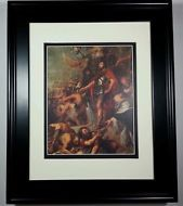 1968 Triumph of Judas by Rubens, Old Bible Print, Gallery Matted & Framed NEW