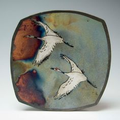 Raku Red Crowned Crane and Moon by Rocky Mann -